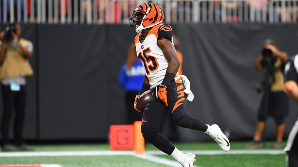 Cincinnati Bengals wide receiver John Ross celebrates a touchdown against the Atlanta Falcons