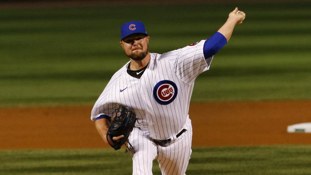 Chicago Cubs pitcher Jon Lester pitches against the Cleveland Indians