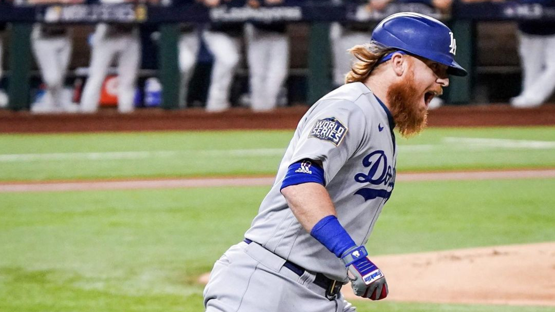 Los Angeles Dodgers third baseman Justin Turner celebrating a home run in Game 3 of the 2020 World Series against the Tampa Bay Rays
