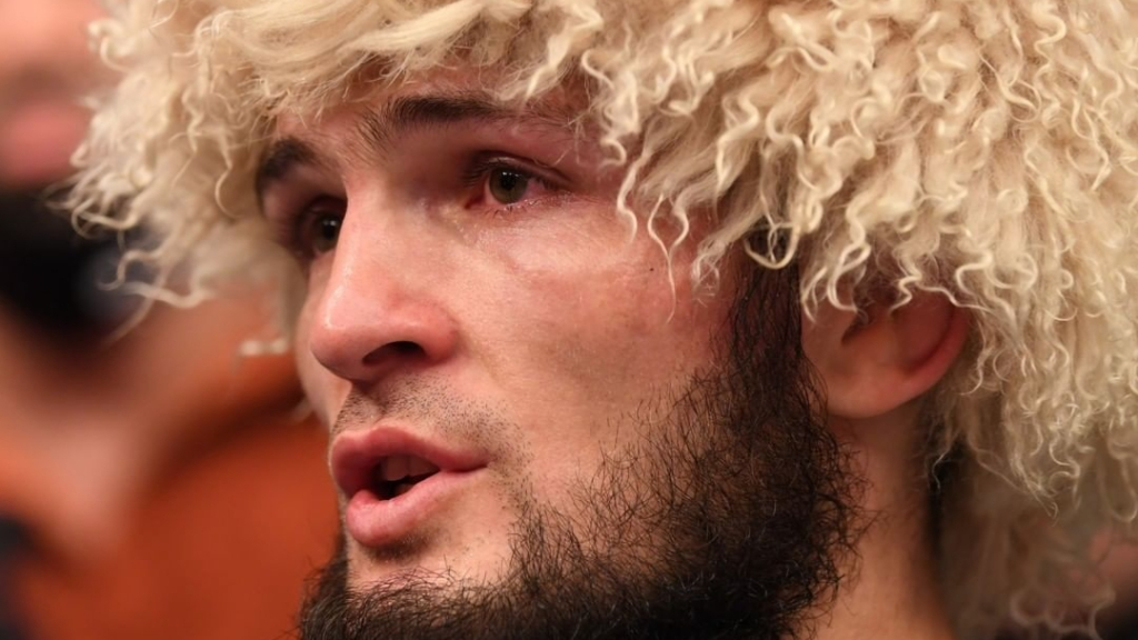 UFC fighter Khabib Nurmagomedov talks during his post-fight interview following his win over Justin Gaethje at UFC 254