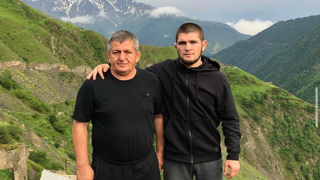 UFC competitor Khabib Nurmagomedov and his late father Abdulmanap, who passed away due to the coronavirus in July 2020