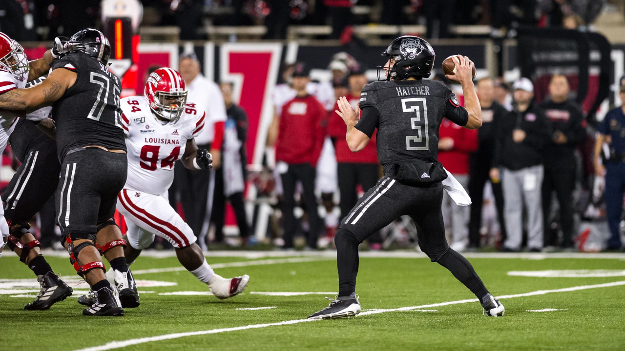 Arkansas State Red Wolves quarterback Layne Hatcher attempting a pass against the Louisiana Ragin' Cajuns in a 37-20 loss