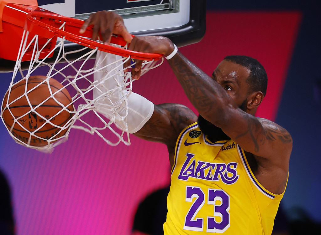 Los Angeles Lakers star LeBron James dunks against the Denver Nuggets in Game One of the Western Conference Finals in the 2020 NBA Playoffs