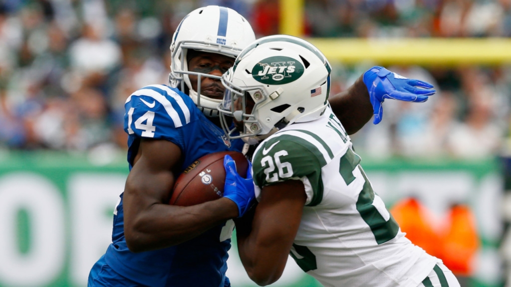 New York Jets free safety Marcus Maye attempts to tackle Zach Pascal against the Indianapolis Colts