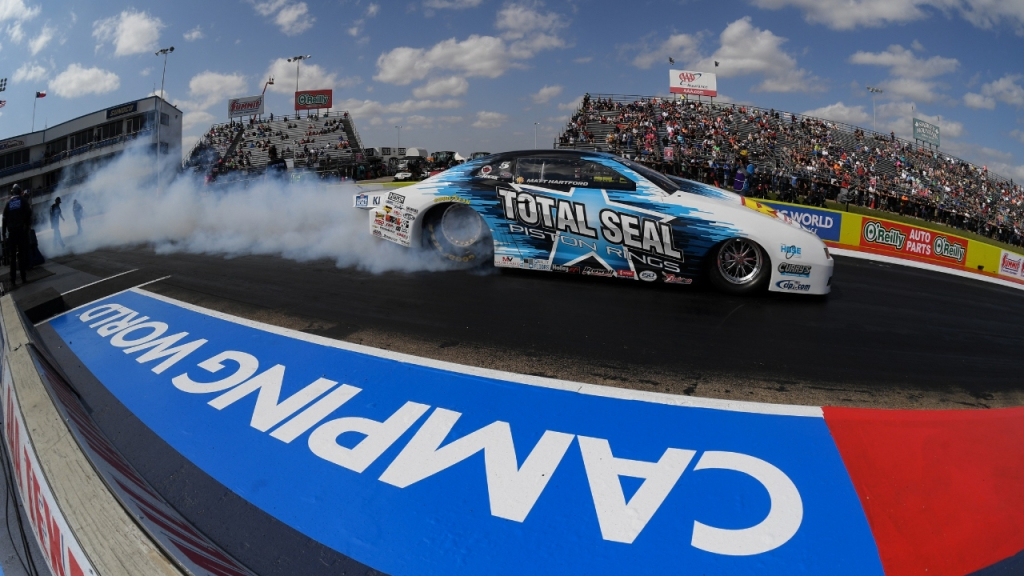 Total Seal Pro Stock driver Matt Hartford racing on Sunday at the 2020 AAA Texas NHRA FallNationals
