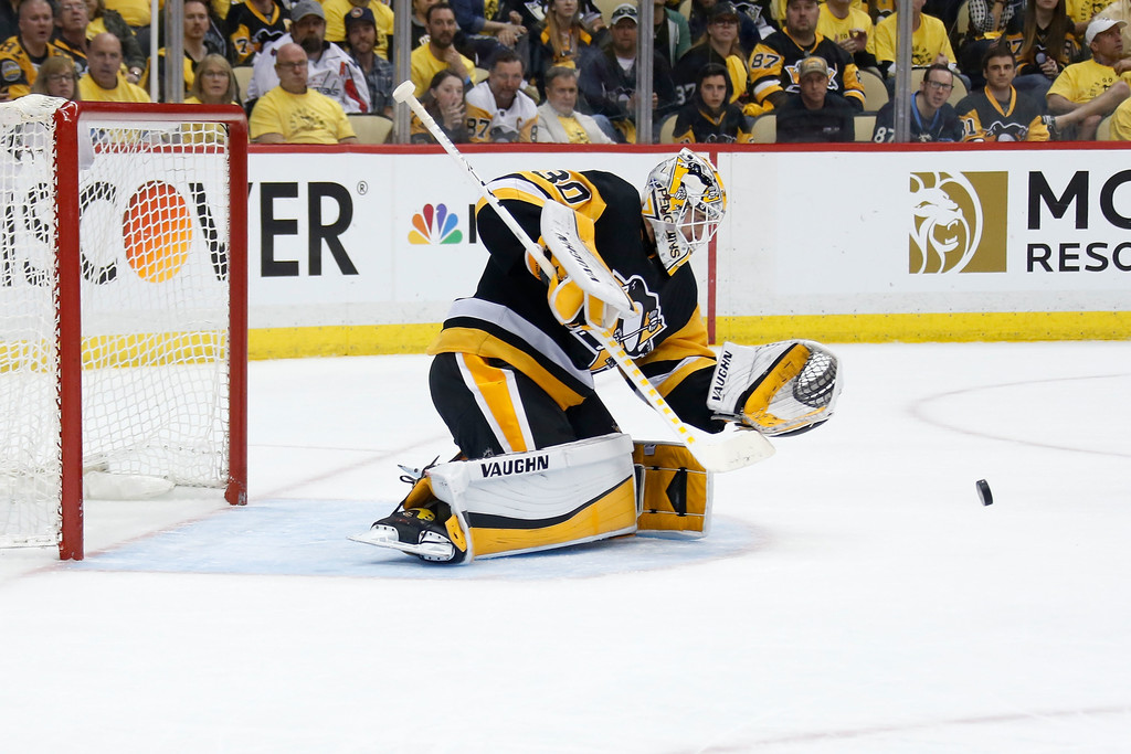 Former Pittsburgh Penguins goalie Matt Murray makes a save in Game Three of the 2018 Eastern Conference Second Round of the NHL Playoffs against the Washington Capitals