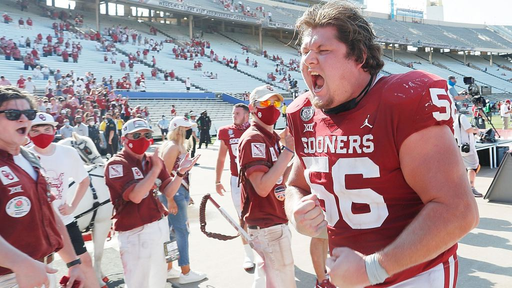 Oklahoma Sooners offensive lineman Creed Humphrey celebrates after defeating the Texas Longhorns
