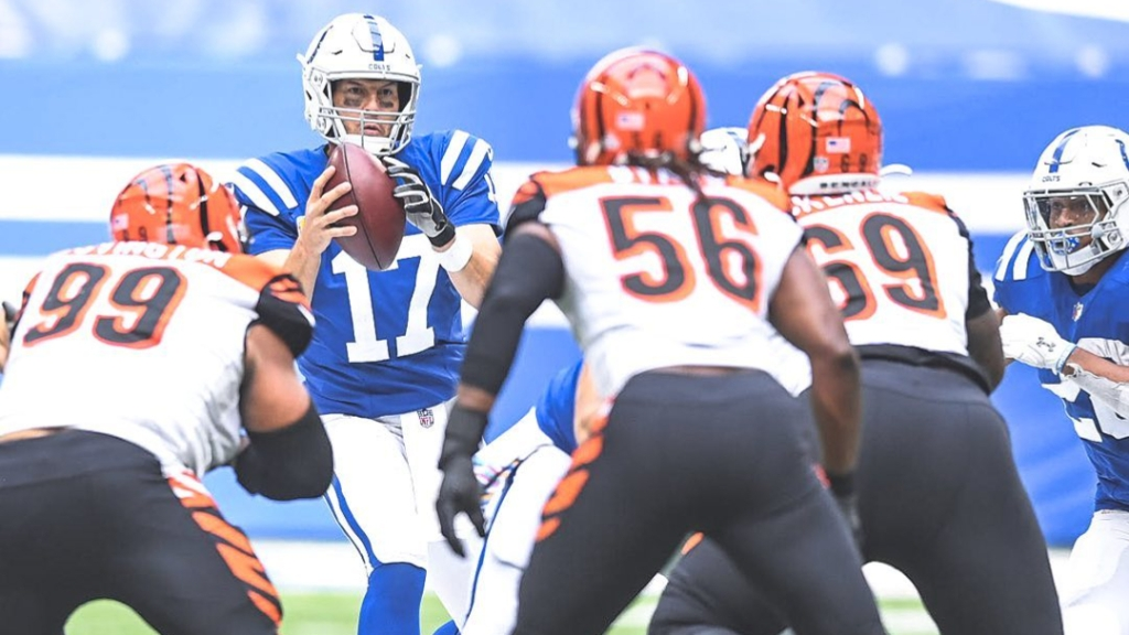 Indianapolis Colts quarterback Philip Rivers attempting a pass against the Cincinnati Bengals
