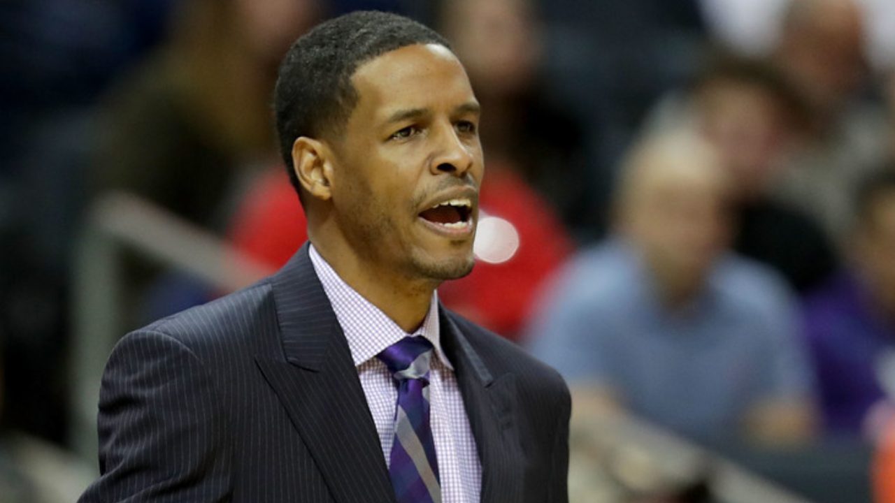 Former Charlotte Hornets interim head coach Stephen Silas reacts to a call against the Utah Jazz