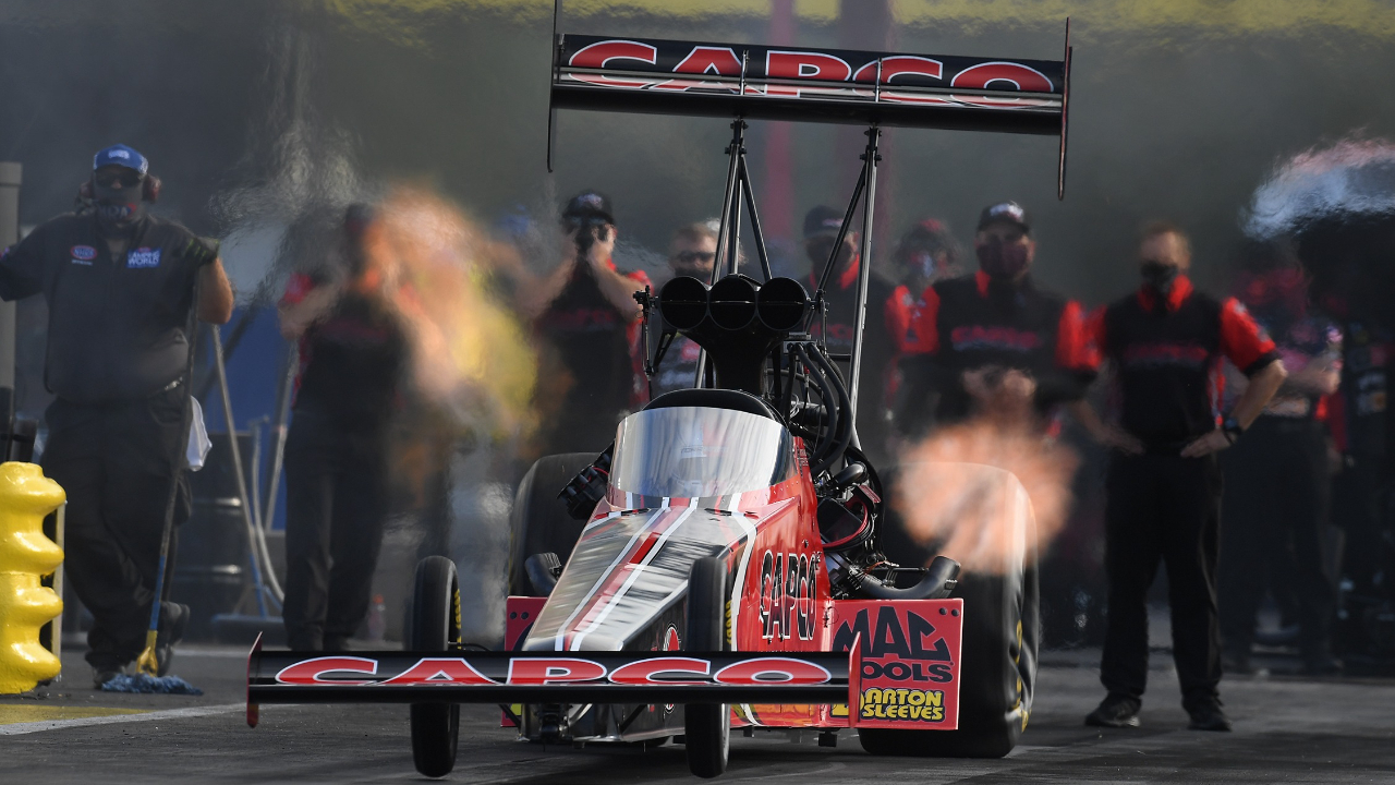 Capco Contractors Top Fuel Dragster pilot Steve Torrence on Saturday at the 33rd annual Mopar Express Lane NHRA SpringNationals presented by Pennzoil