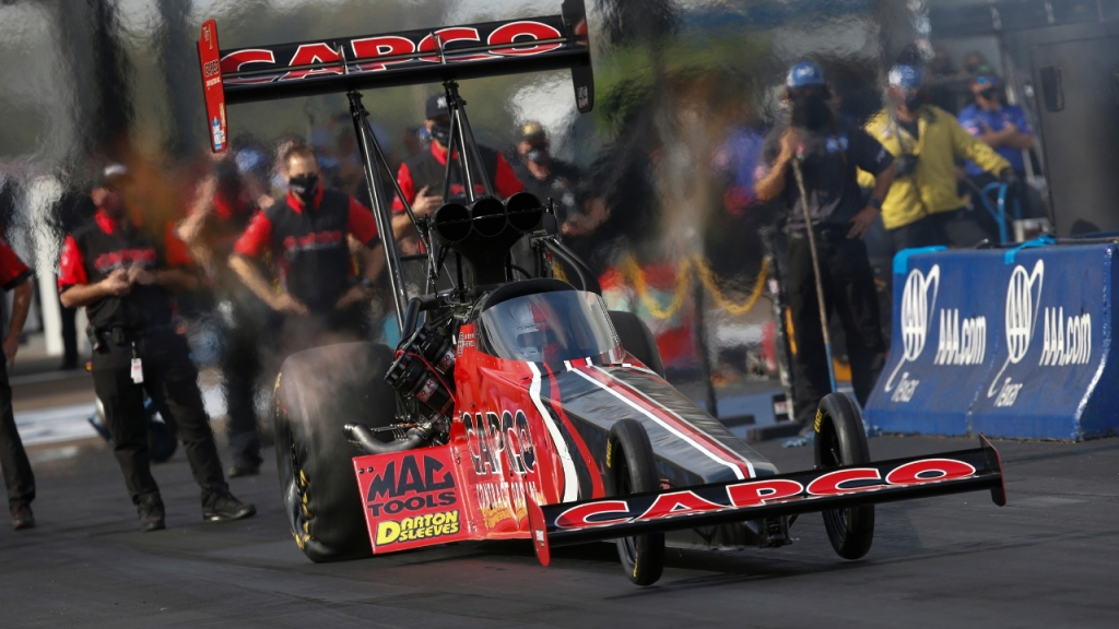Capco Contractors Top Fuel Dragster pilot Steve Torrence racing on Sunday at the 2020 AAA Texas NHRA FallNationals