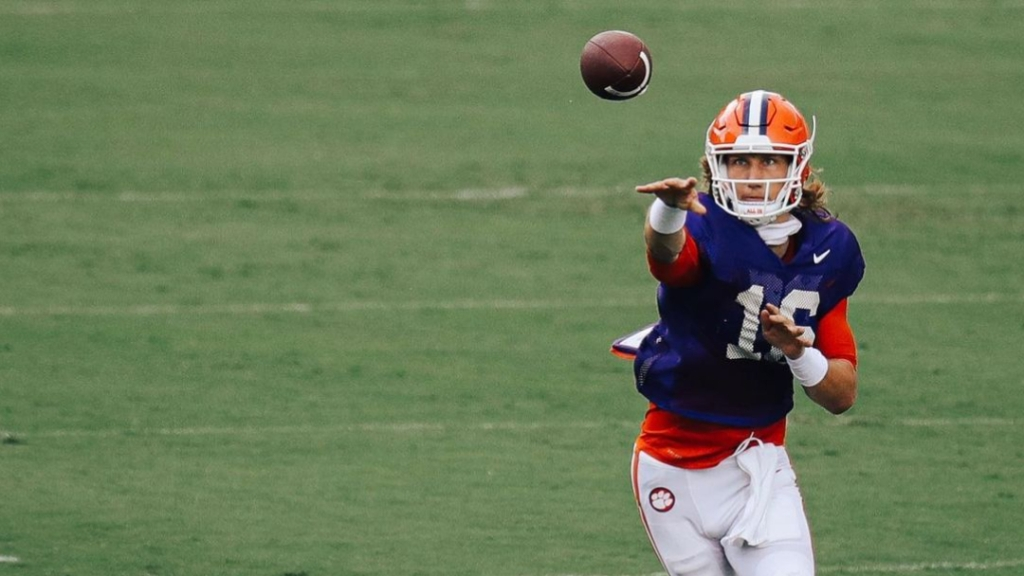 Clemson Tigers star quarterback Trevor Lawrence attempts a pass in practice