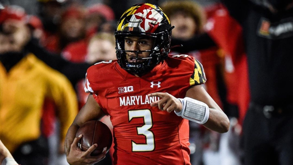 Maryland Terrapins quarterback Taulia Tagovailoa rushes with the football against the Minnesota Golden Gophers