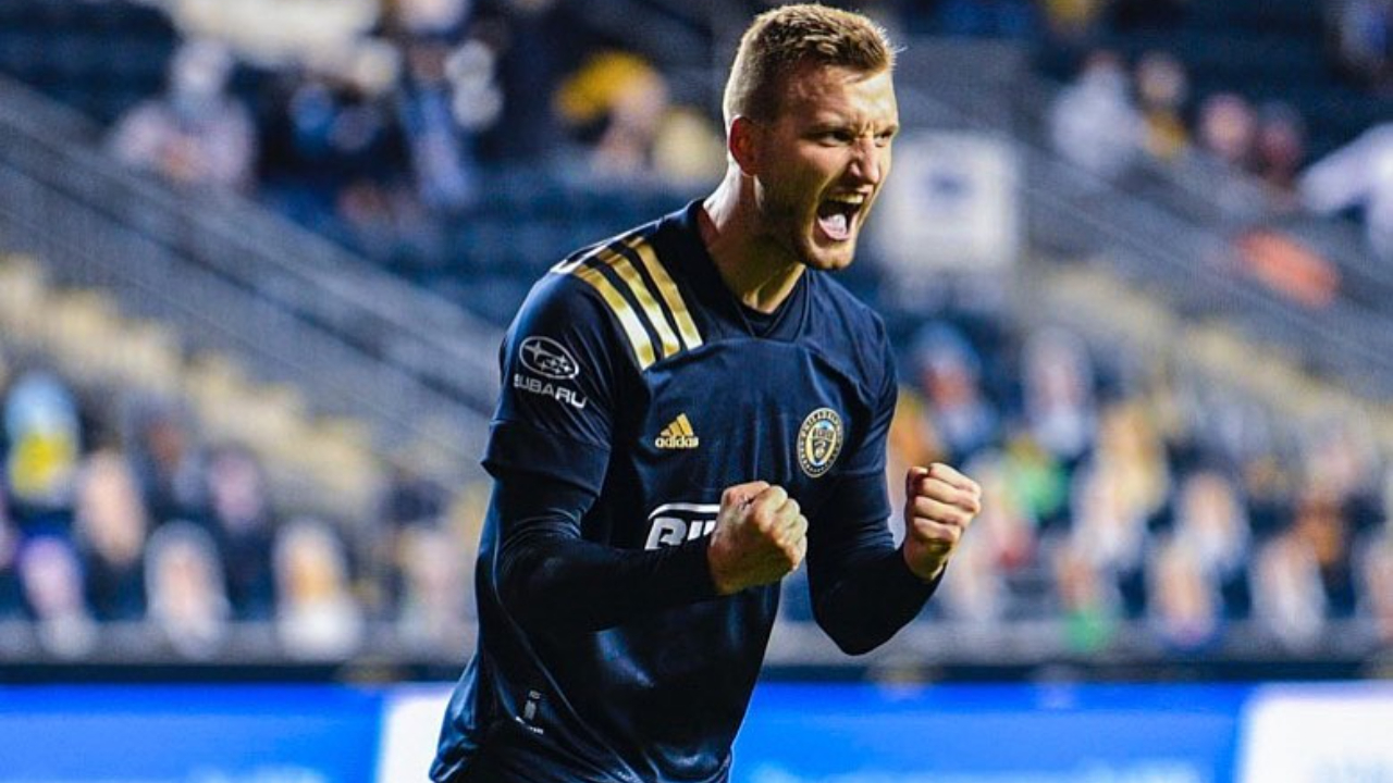 Philadelphia Union striker Kacper Przybyłko celebrating the Union's win over the Chicago Fire