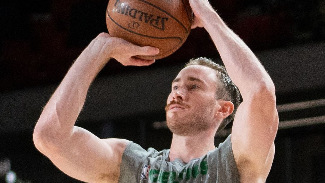 Boston Celtics forward Gordon Hayward warms up before their 2020 NBA Playoff game against the Miami Heat in the Eastern Conference Finals