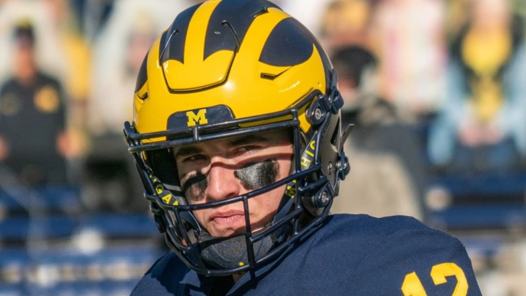 Michigan Wolverines quarterback Cade McNamara warms up before their game with the Penn State Nittany Lions