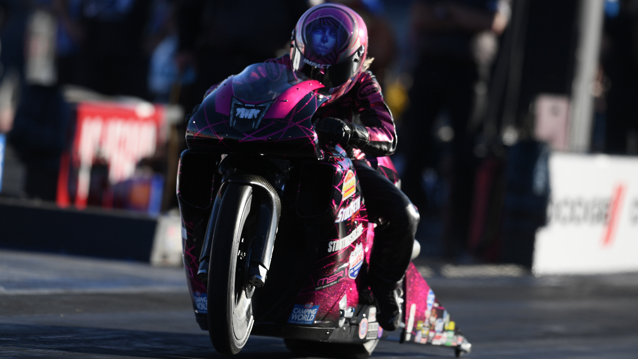 Denso/Matt Smith Racing Pro Stock Motorcycle rider Angie Smith racing on Sunday at the 20th annual Dodge NHRA Finals presented by Pennzoil