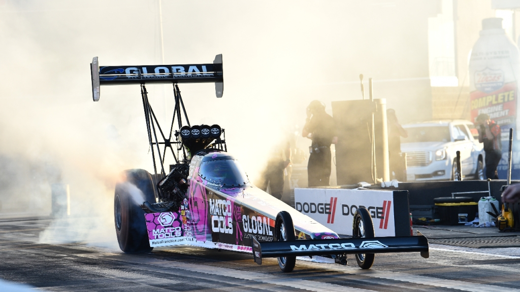 Matco Tools Top Fuel Dragster pilot Antron Brown racing on Sunday at the 20th annual Dodge NHRA Finals presented by Pennzoil
