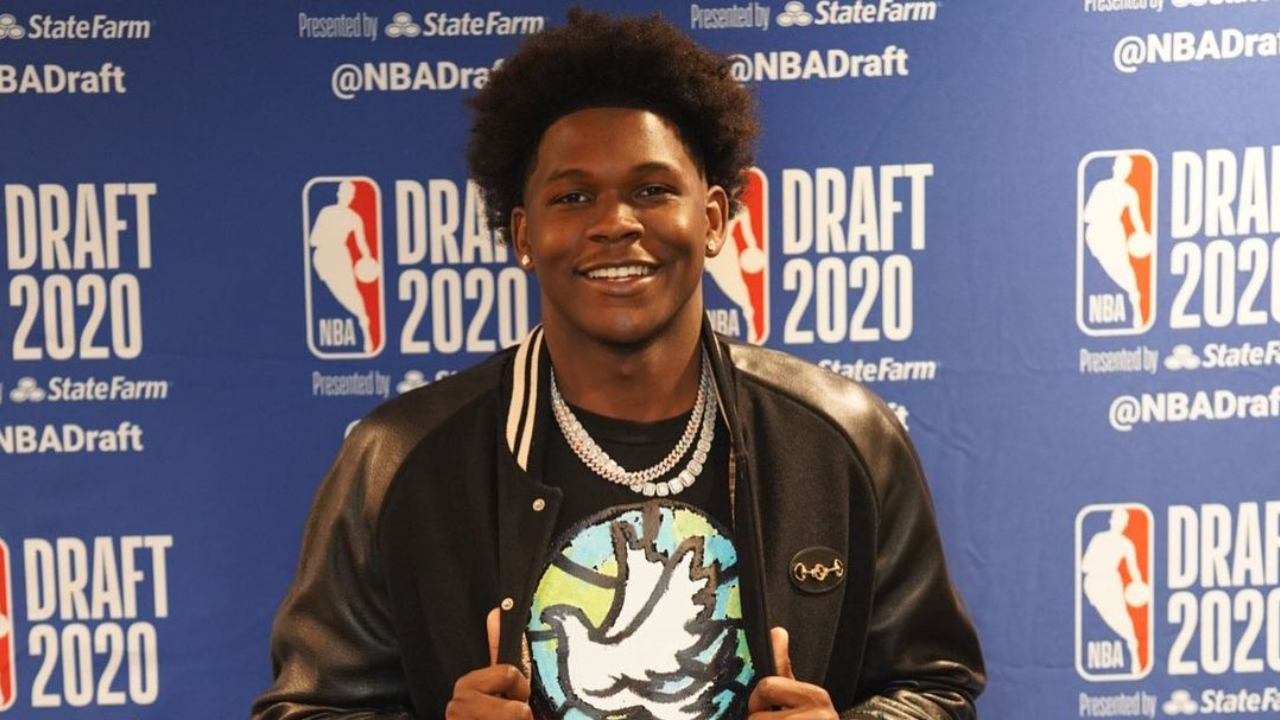 Anthony Edwards celebrates at his draft party before being the top pick by the Minnesota Timberwolves in the 2020 NBA Draft