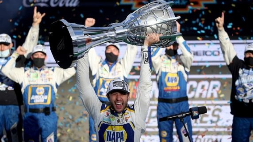 NAPA Auto Parts Chevrolet driver Chase Elliott celebrates in victory lane after winning the NASCAR Cup Series Season Finale 500 and the 2020 NASCAR Cup Series Championship