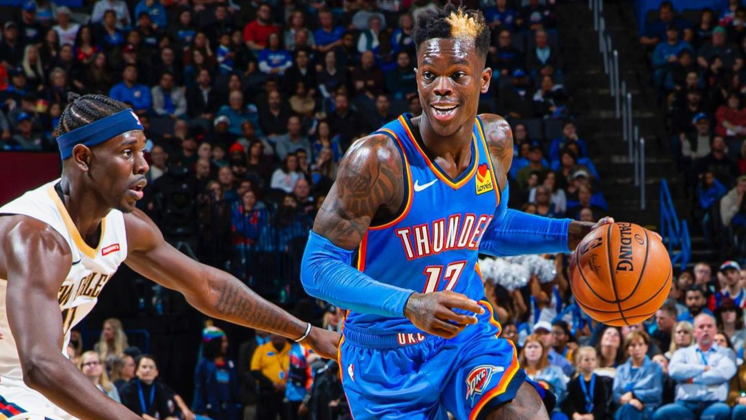 Oklahoma City Thunder guard Dennis Schröder drives to the basket against the New Orleans Pelicans