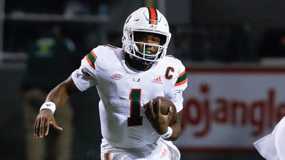 Miami (Florida) Hurricanes quarterback D'Eriq King carries the football against the North Carolina State Wolfpack