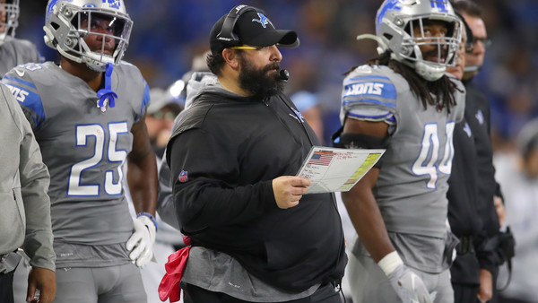 Former Detroit Lions head coach Matt Patricia looks on while his team plays the Chicago Bears