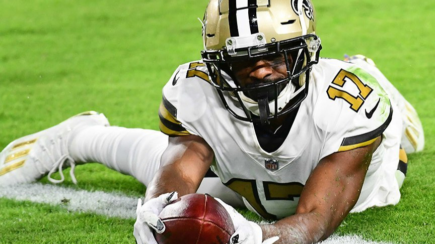 New Orleans Saints wide receiver Emmanuel Sanders caught a touchdown reception against the Tampa Bay Buccaneers