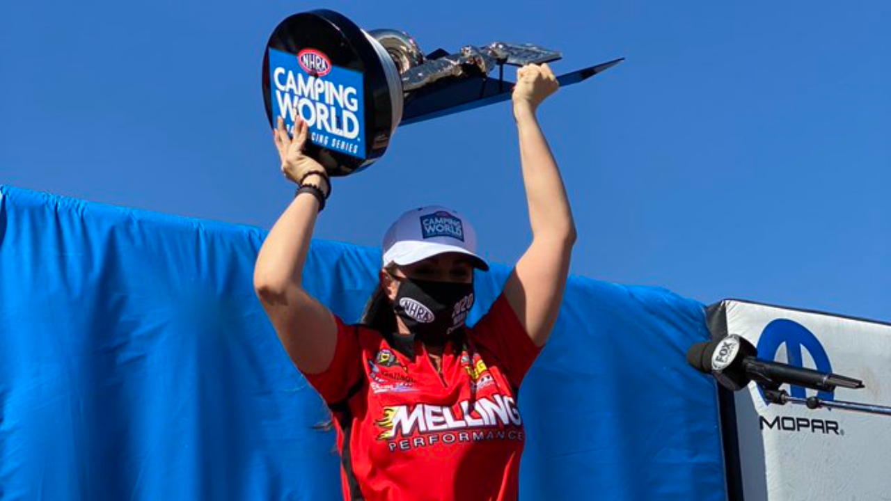 Melling Performance/Elite Performance Pro Stock driver Erica Enders celebrates with her 2020 Championship at the 20th annual Dodge NHRA Finals presented by Pennzoil