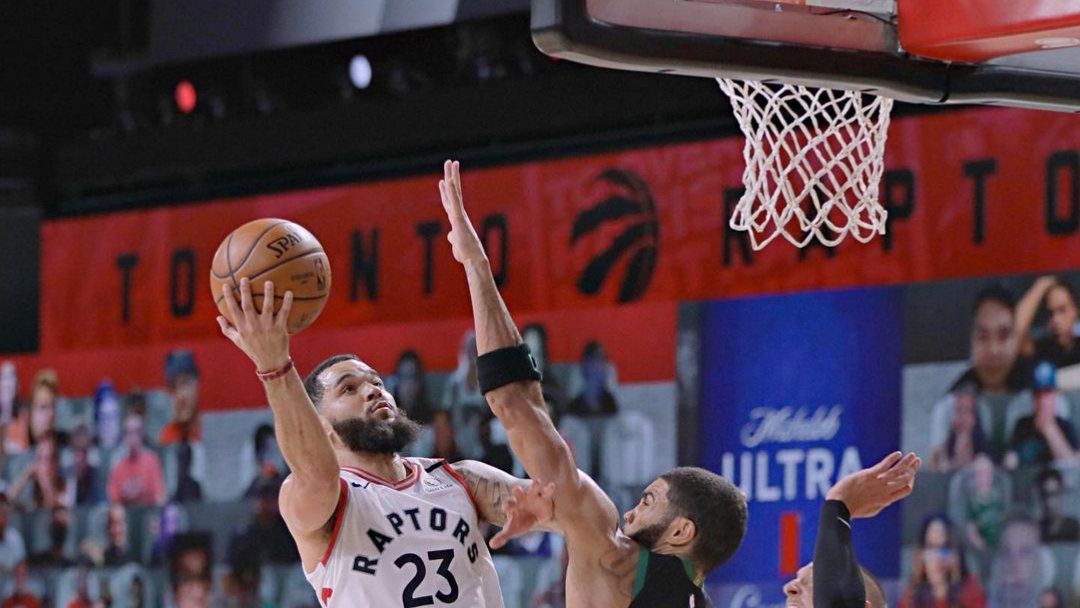 Toronto Raptors guard Fred VanVleet drives to the basket against the Boston Celtics in Game 7 of the 2020 Eastern Conference Semifinals