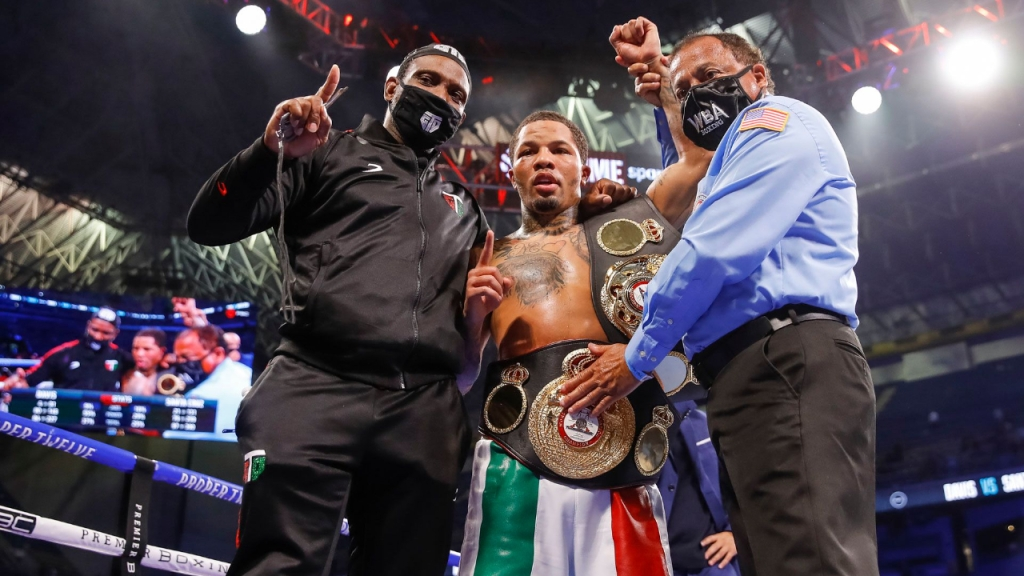 Boxing star Gervonta Davis celebrates his knockout over Leo Santa Cruz on Showtime Pay-Per-View