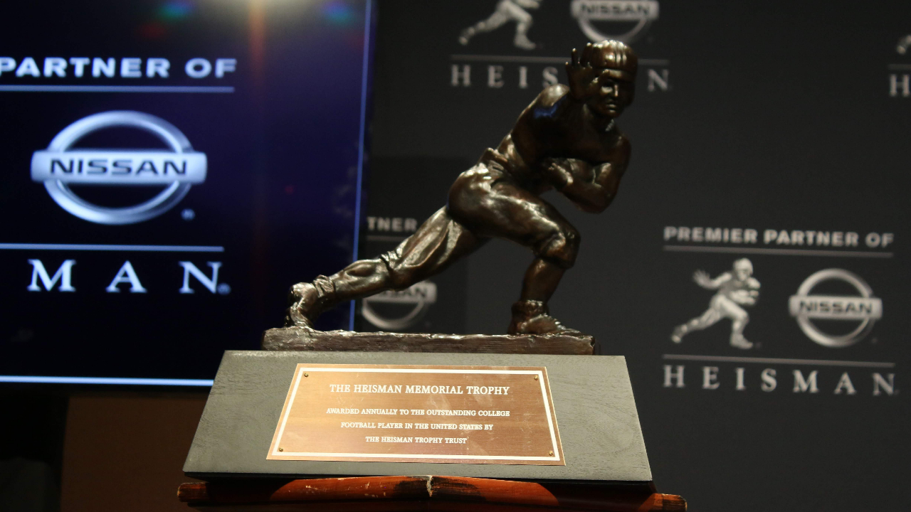 Heisman Trophy is placed on a podium before the announcement of the 2019 Heisman Trophy winner at the New York Marriott Marquis