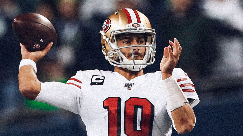 San Francisco 49ers quarterback Jimmy Garoppolo warms up before his team faces the Seattle Seahawks