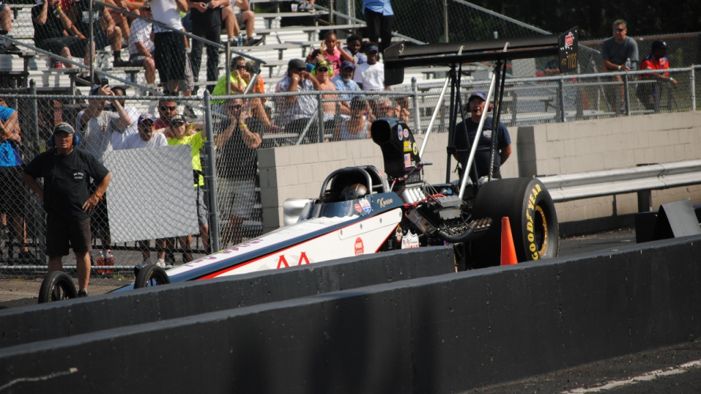 AA Auto Salvage Top Alcohol Dragster pilot Karen Stalba competing at the 2015 Atco Divisional