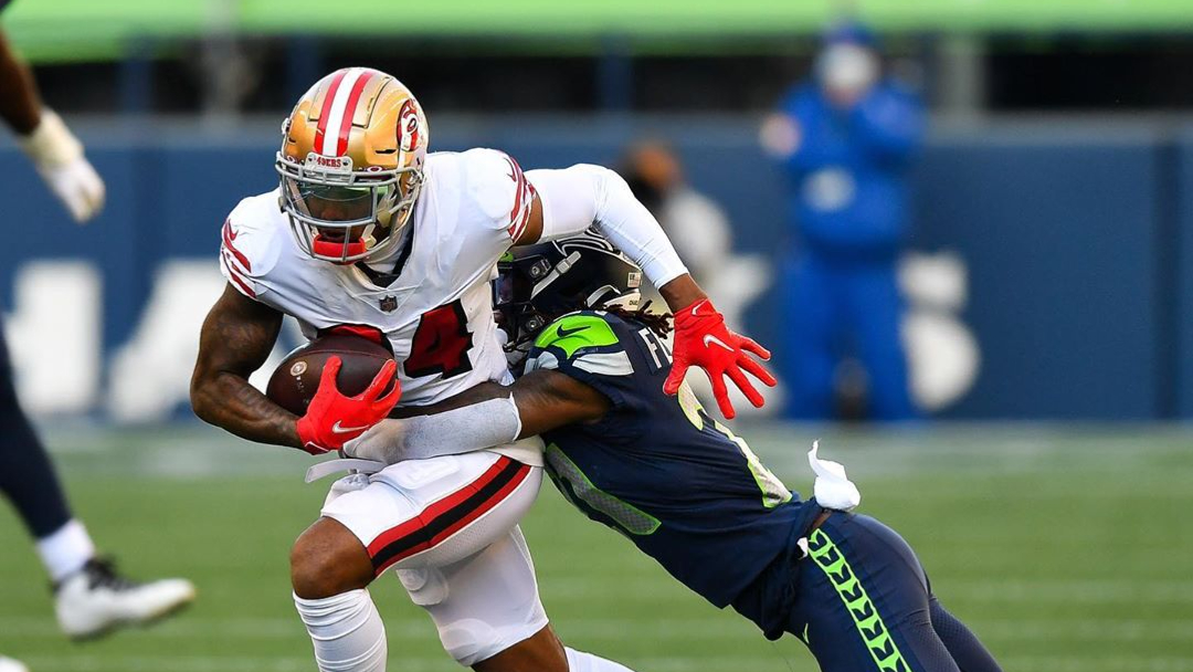 San Francisco 49ers wide receiver Kendrick Bourne with a reception against the Seattle Seahawks