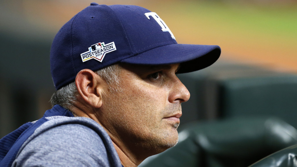 Tampa Bay Rays manager Kevin Cash watches from the dugout during Game 2 of the ALDS in the 2019 MLB Playoffs against the Houston Astros