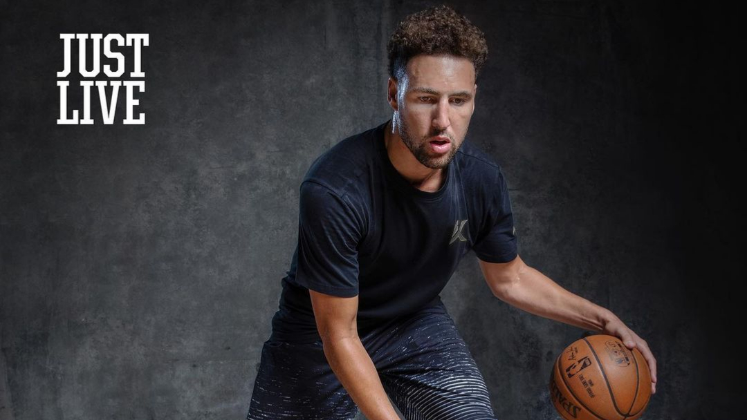 Golden State Warriors forward Klay Thompson practices during a photo shoot
