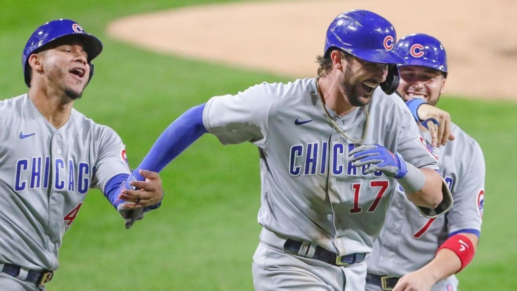 Chicago Cubs third baseman Kris Bryant celebrates with his teammates after hitting a grand slam against the Chicago White Sox