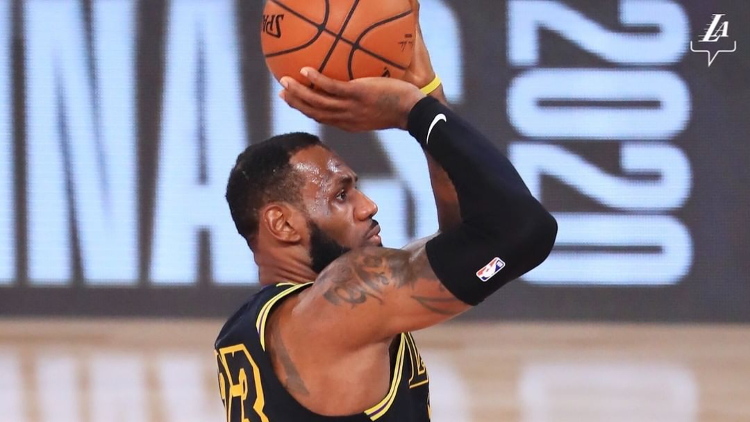 Los Angeles Lakers star LeBron James attempts a shot against the Miami Heat in Game 5 of the 2020 NBA Finals