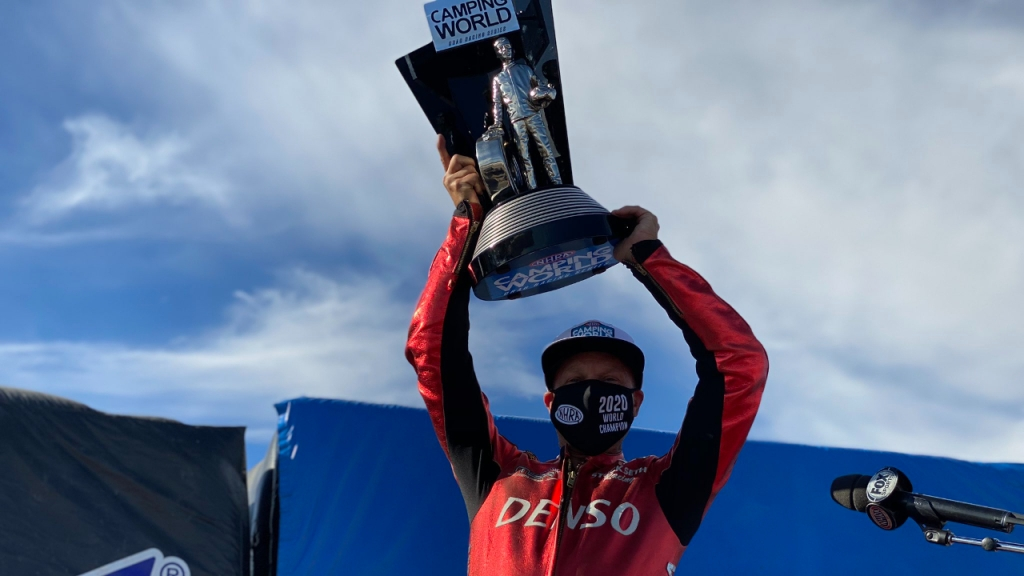 Denso/Matt Smith Racing Pro Stock Motorcycle rider Matt Smith celebrates his 2020 Championship Wally at the 20th annual Dodge NHRA Finals presented by Pennzoil