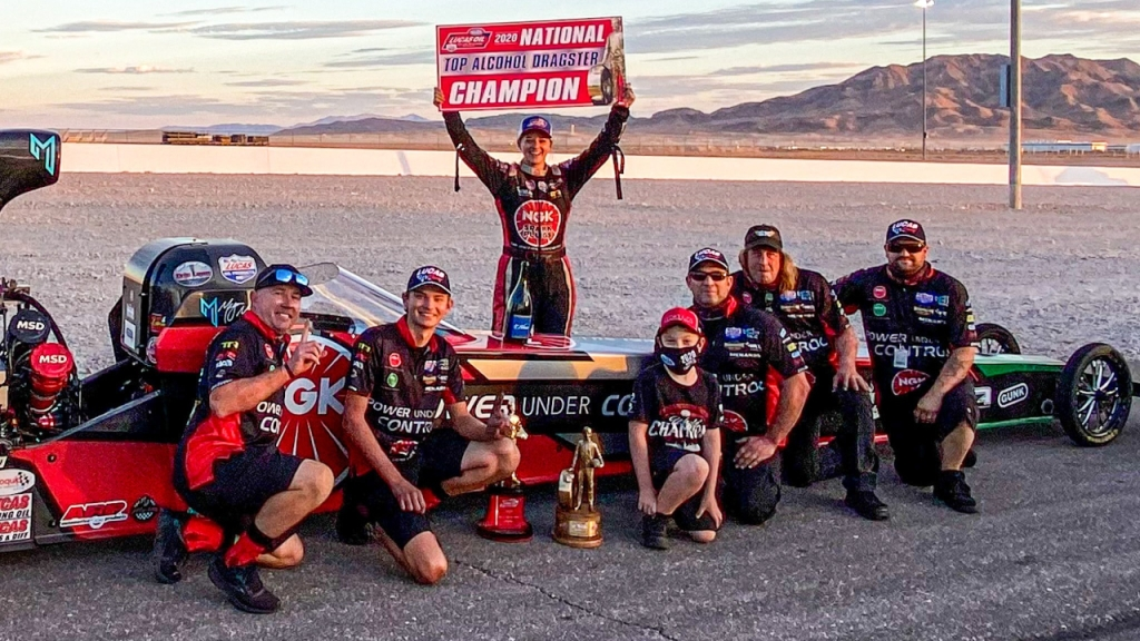 Randy Meyer Racing Top Alcohol Dragster pilot Megan Meyer-Lingner celebrates her first Las Vegas Motor Speedway Wally and 2020 Top Alcohol Dragster Championship following the 20th annual Dodge NHRA Finals presented by Pennzoil