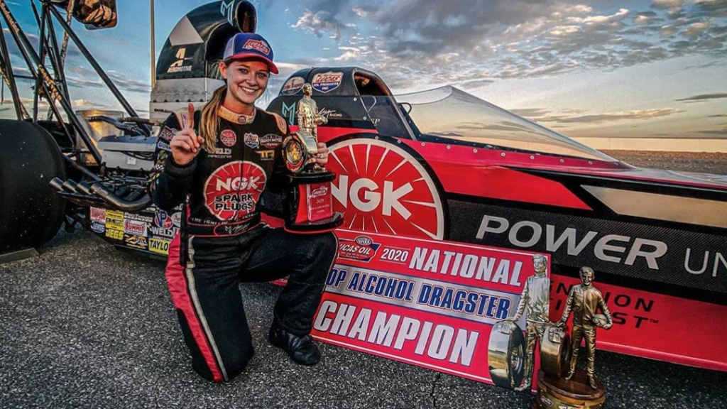 Randy Meyer Racing Top Alcohol Dragster pilot Megan Lingner (Meyer) celebrates her 2020 National Championship and her 20th annual Dodge NHRA Finals presented by Pennzoil win