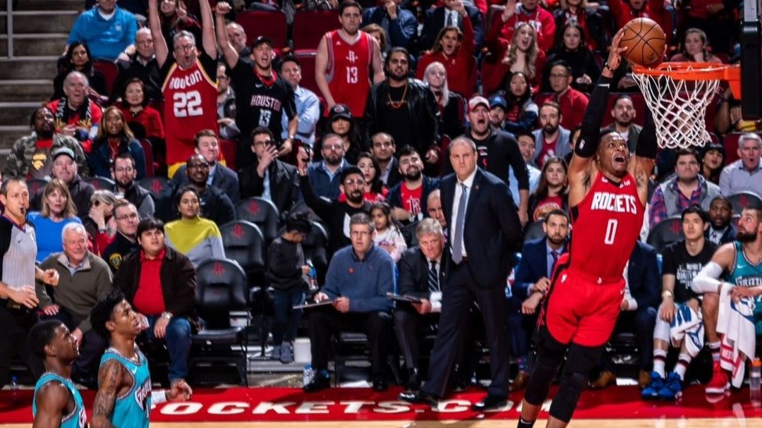 Houston Rockets point guard Russell Westbrook dunks against the Memphis Grizzlies
