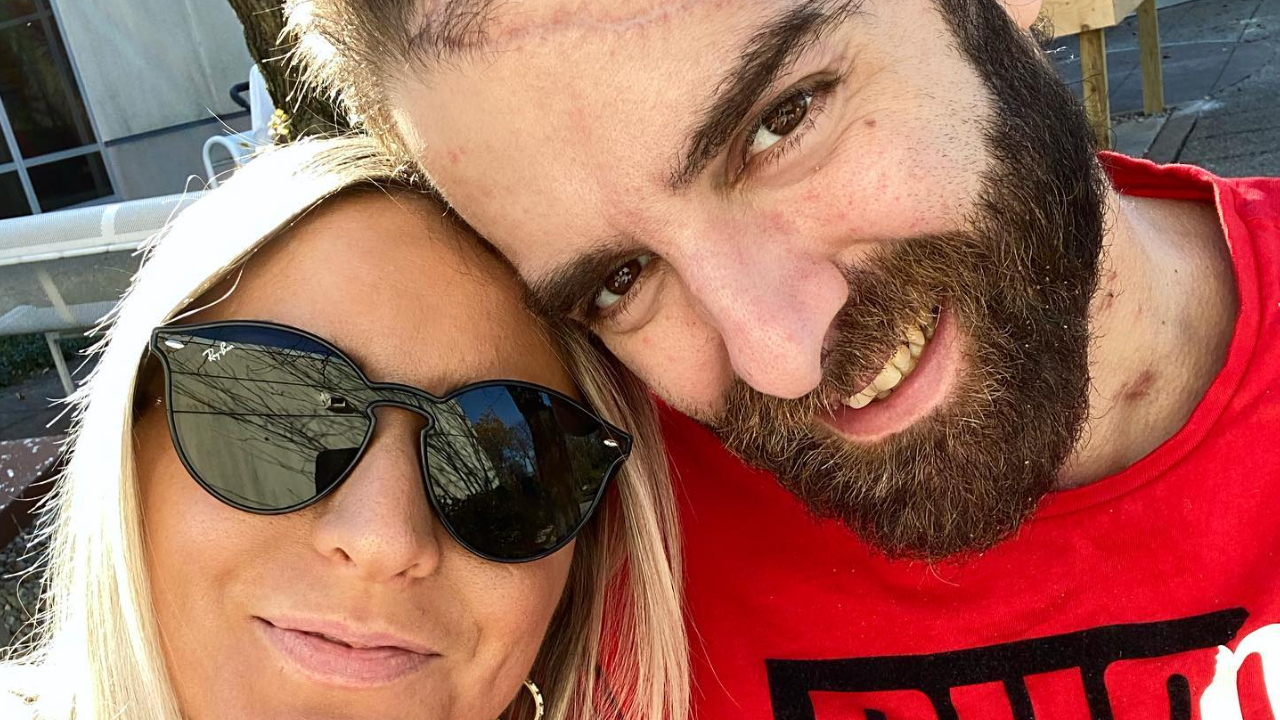 NHRA Top Fuel Dragster pilot Dom Lagana and his fiancée Sara Matthias enjoying a Saturday outside three months after Lagana was seriously injured in an accident
