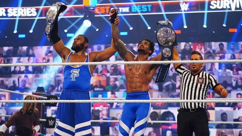 Street Profits celebrates their win over The New Day at Survivor Series