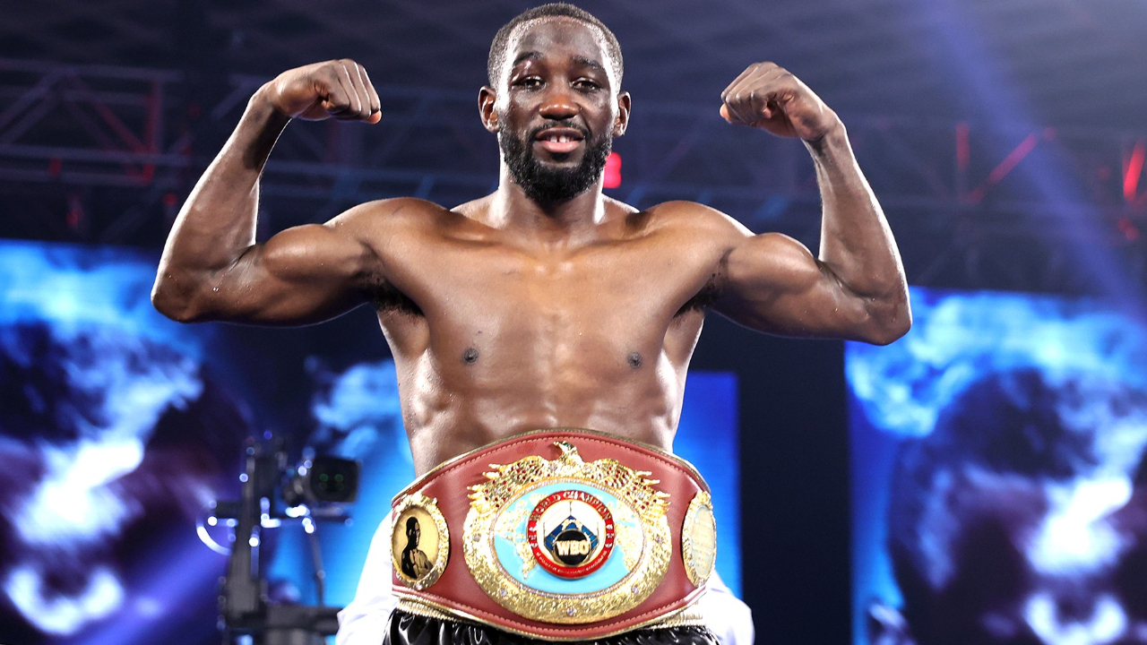 "Top Rank pound-for-pound elite fighter Terence ""Bud"" Crawford celebrates his knockout win over Kell Brook"