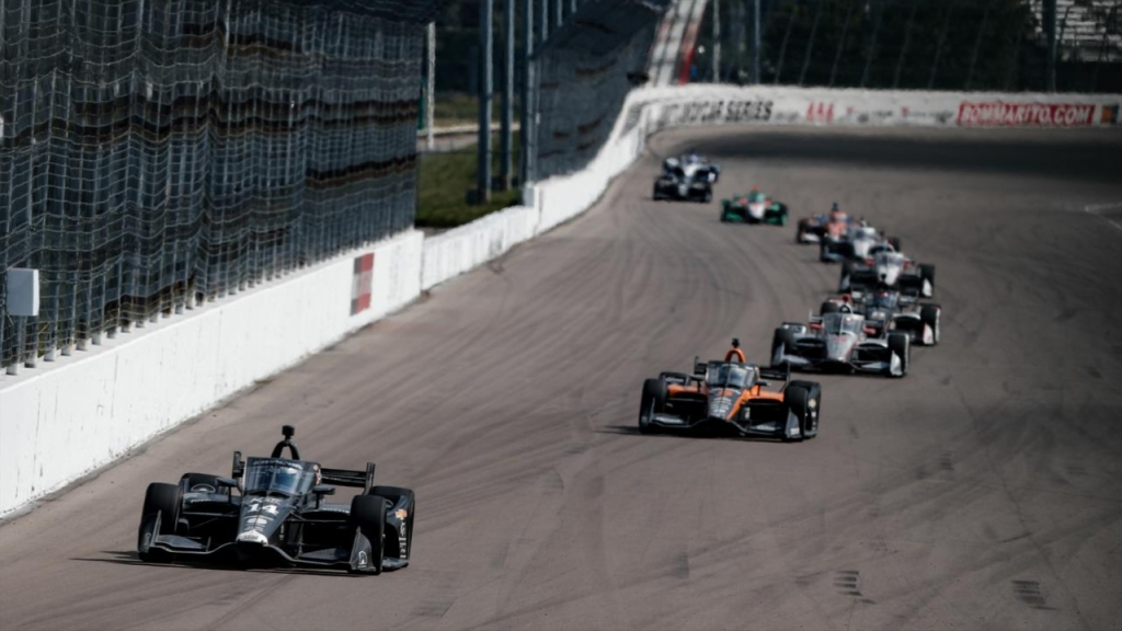 Former A.J. Foyt Racing driver Tony Kanaan competing in the Bommarito Automotive Group 500 presented by Axalta and Valvoline