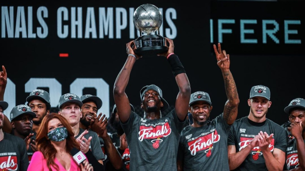 Miami Heat power forward Udonis Haslem celebrates the team's Eastern Conference Finals title after they defeated the Boston Celtics