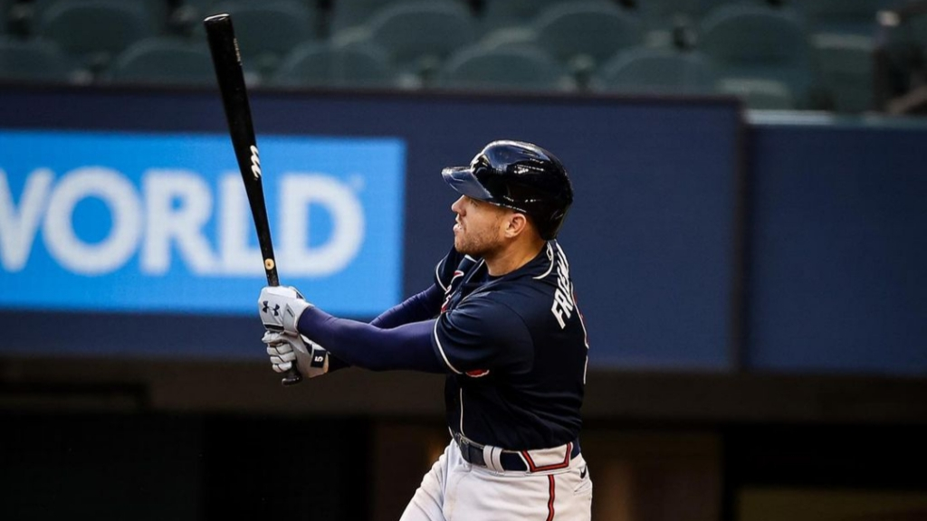 Atlanta Braves first baseman Freddie Freeman hits a home run against the Los Angeles Dodgers in Game 2 of the 2020 National League Championship Series