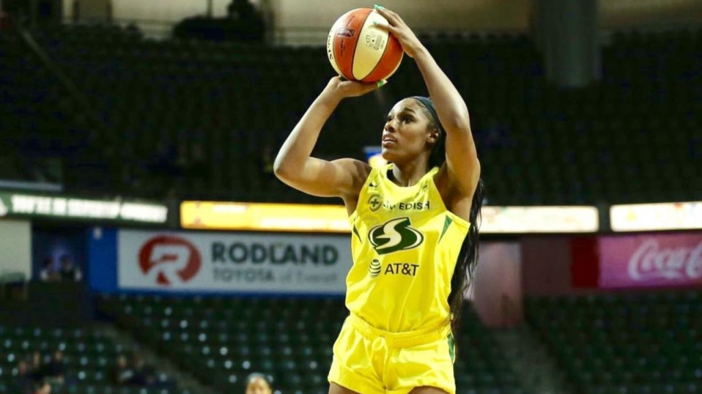 Former Seattle Storm forward Anriel Howard attempting a shot in a WNBA game